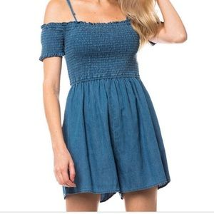 NWT love tree denim linen romper ruched ribbed